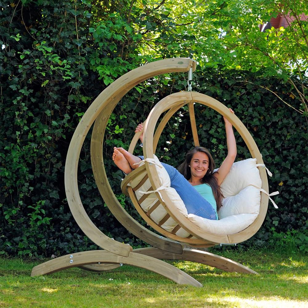 Globo Garden Hanging Chair Stand In Natura Cream Amazonas Cuckooland