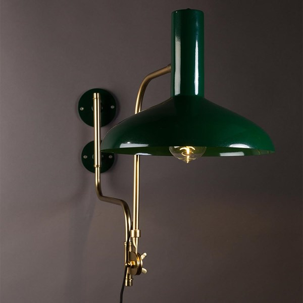 Vintage Wall Light in Gloss Green