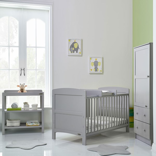 Warm Grey 3 Piece Nursery Furniture Set with Cot Bed