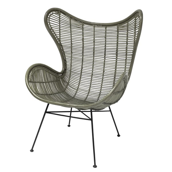 Rattan Egg Chair in Army Green