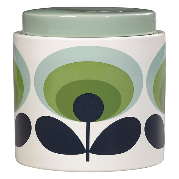 Orla Kiely Ceramic 1L Storage Jar in 70s Oval Flower Green Print