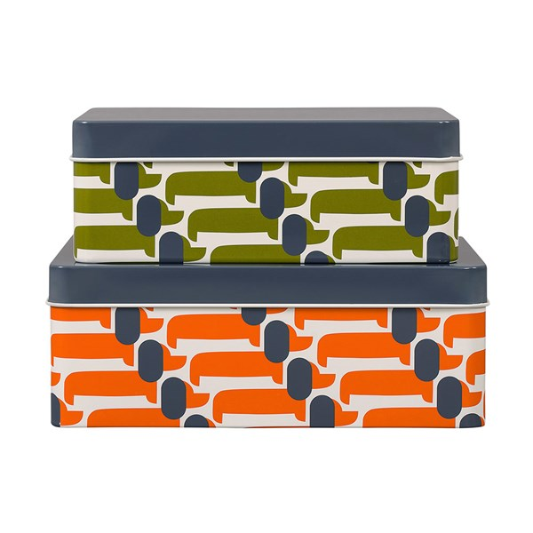 Orla Kiely Set of 2 Dachshund Dog Storage Tins