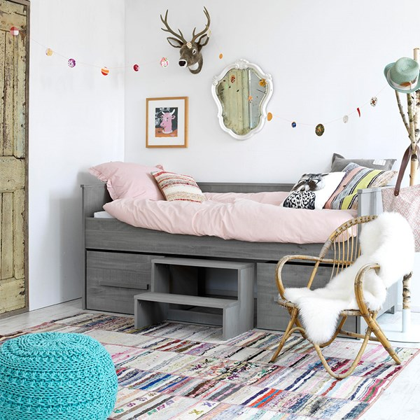 Childrens Grey Contemporary Sofa Bed