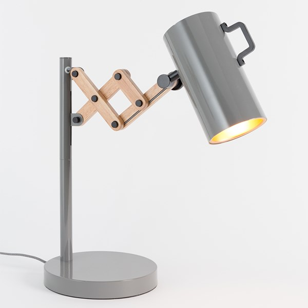 Flex Extendable Arm Table Lamp in Glossy Grey