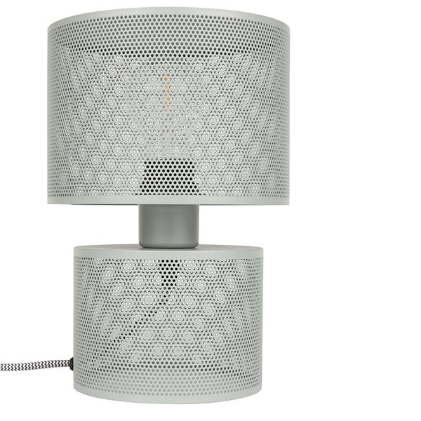 Metal Grid Table Lamp in Grey