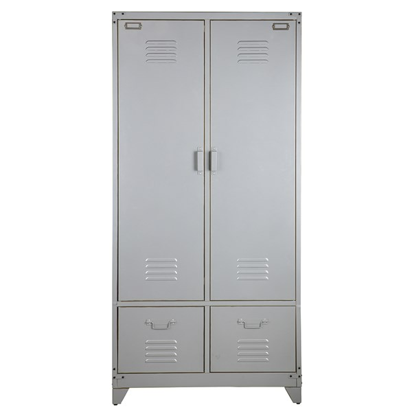 Metal Locker Style Wardrobe in Silver