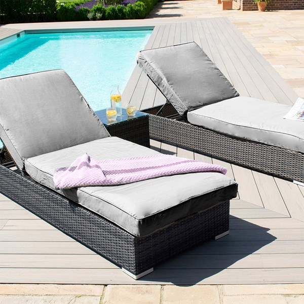 Grey Rattan Sun Lounger Garden Set