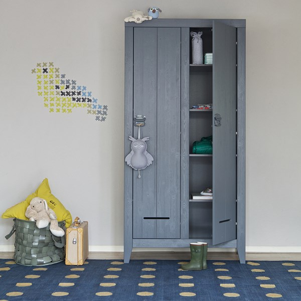 Grey Cabinet in Blue and Yellow Kids Bedroom
