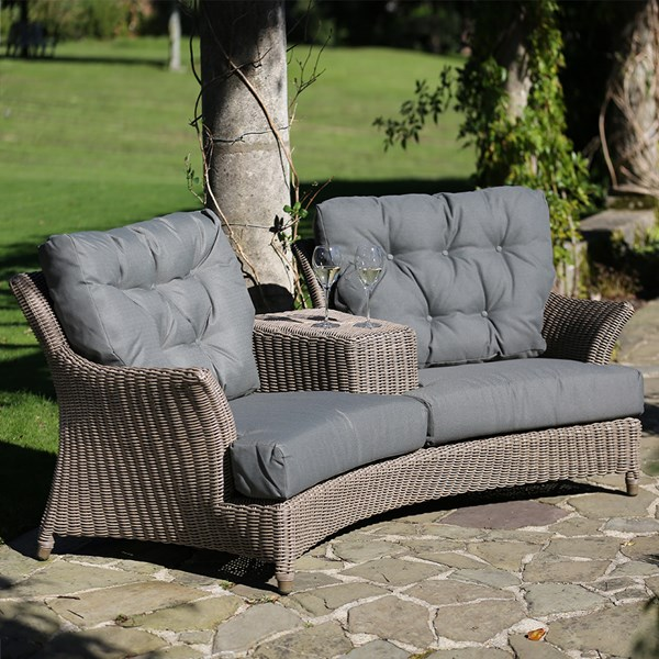Valentine Rattan Love Seat with Optional Footstool by 4 Seasons Outdoor