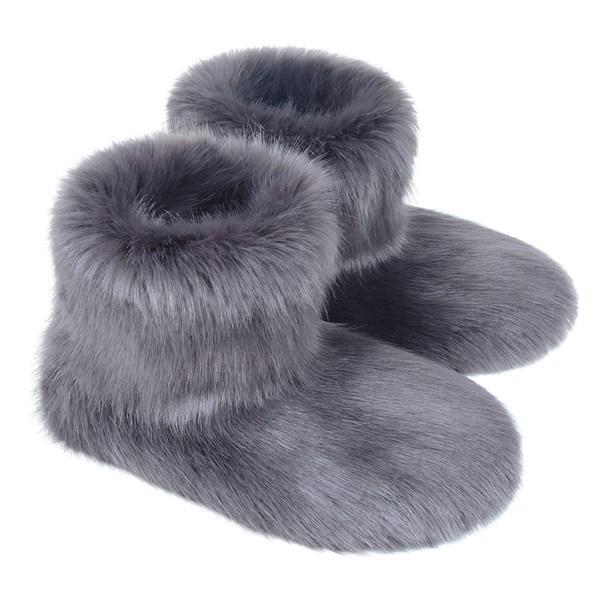 Faux Fur Slipper Boots in Steel
