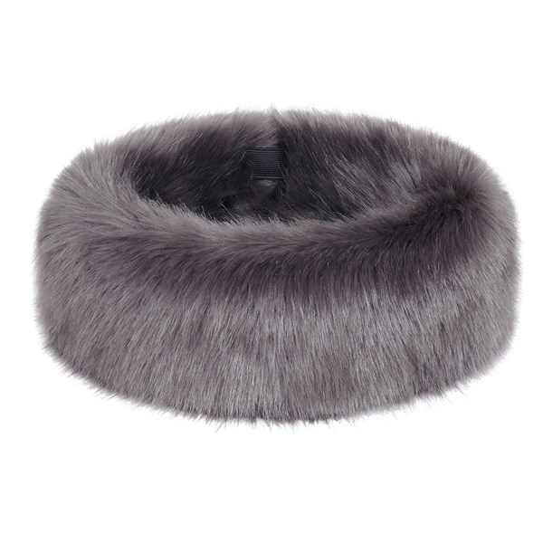 Ladies Dark Grey Fluffy Fur Huff Hat