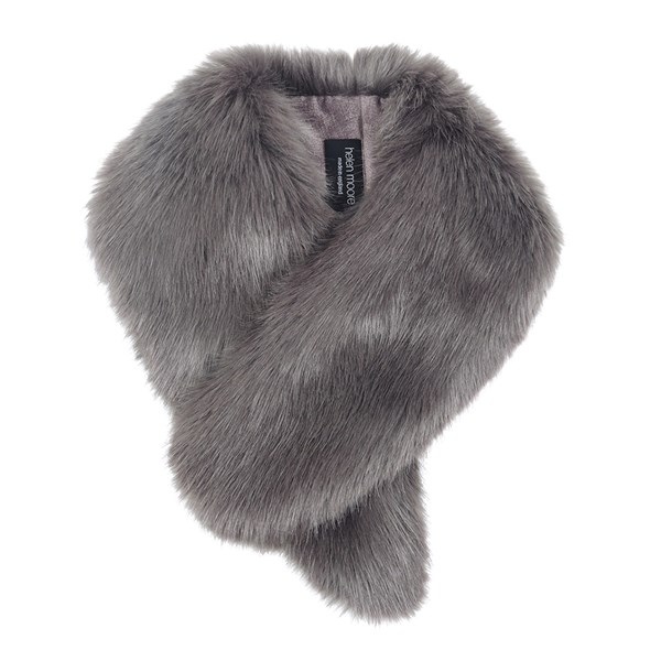 Helen Moore Faux Fur Vintage Collar Scarf in Steel