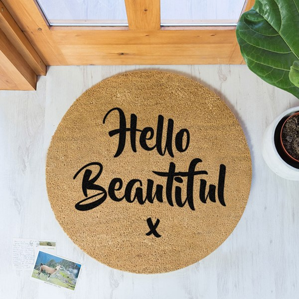 Artsy Doormats Hello Beautiful Circle Door Mat