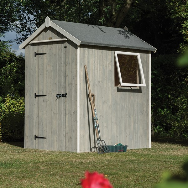 Heritage 6 x 4 Garden Shed in Washed Grey by Rowlinson