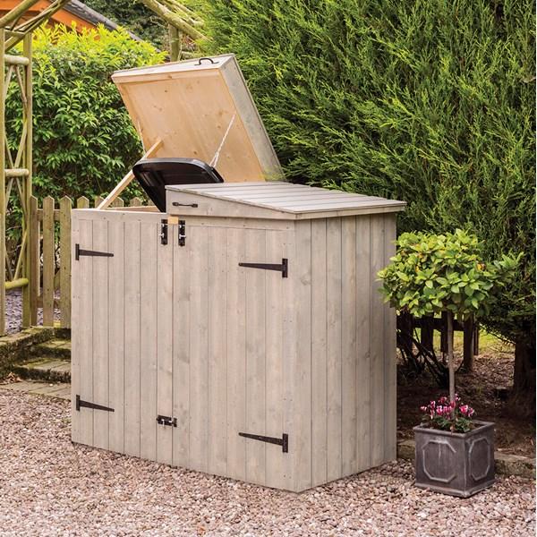 Heritage Bin Storage in Washed Grey for 2 Wheelie Bins