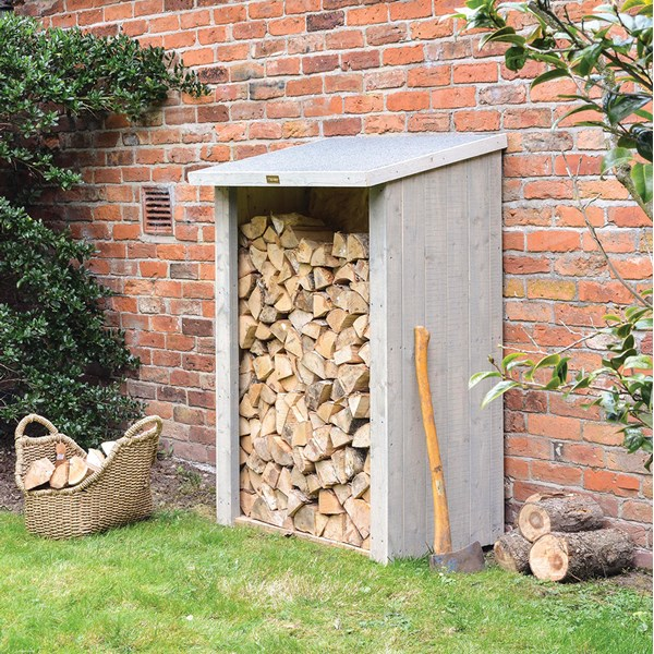 Rowlinson Heritage Garden Log Store in Washed Grey