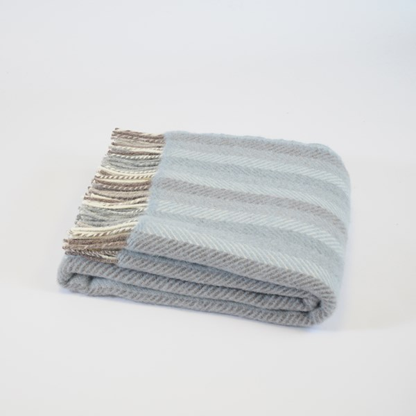 Blue Stripe Wool Throw