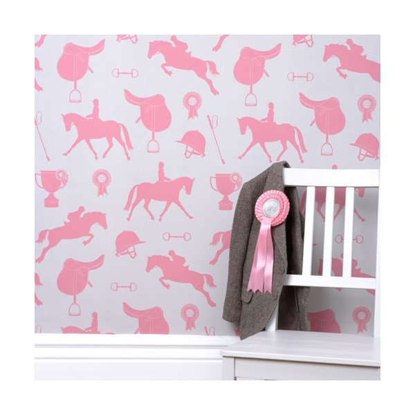 Pink Kids Wallpaper with Horses