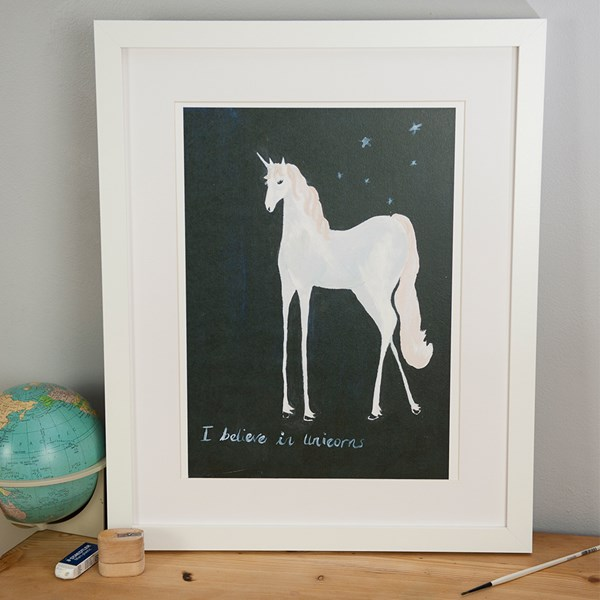 I Believe in Unicorns Illustrated Print by Sarah Lovell