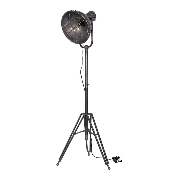 Large Metal Tripod Spot Light in Natural Finish