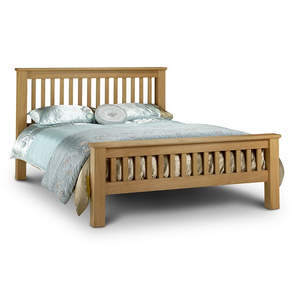 Amsterdam Bed Frame in Oak with High Foot End by Julian Bowen
