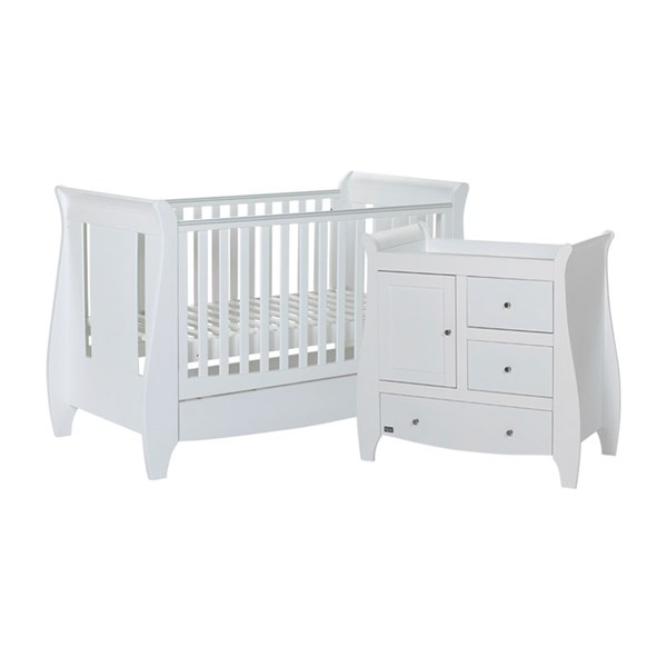 Tutti Bambini Katie Cot Bed 2 Piece Nursery Set in White