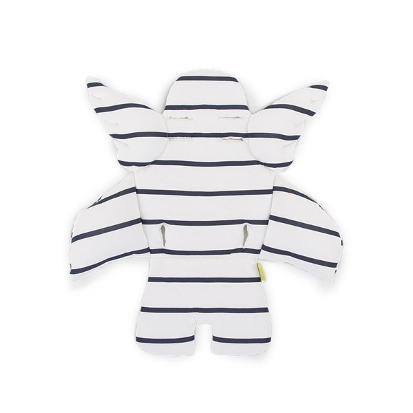 Kid's Angel Wings Cushion in White with Blue Stripe