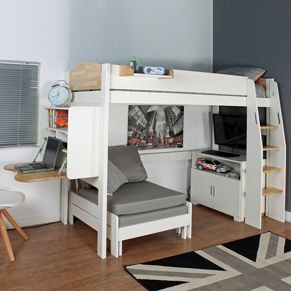 Urban High Sleeper 2 Bed in White & Birch