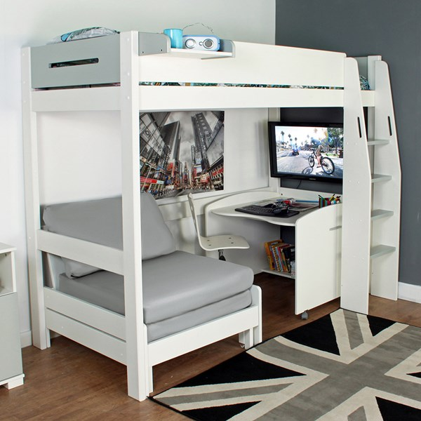 Urban Grey High Sleeper 1 Bed in White & Grey