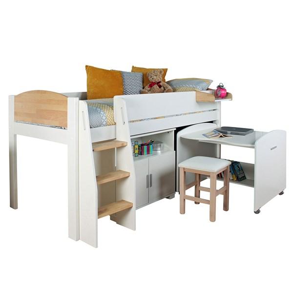 Urban Birch Mid Sleeper 2 Bed in White & Birch