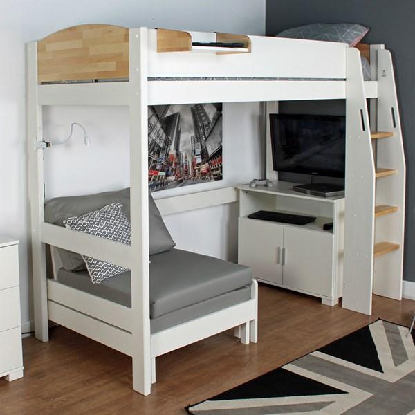 Urban High Sleeper 3 Bed in White & Birch
