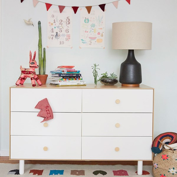 Oeuf Classic 6 Drawer Dresser in White and Birch