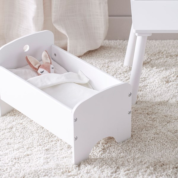 Kids Concept Children's White Doll Bed with Bed Set