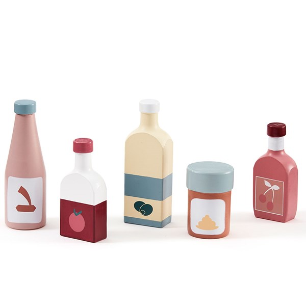Childrens Wooden Toy Pantry Bottles