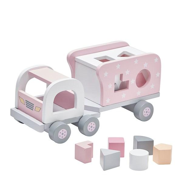 Children's Wooden Shape Sorter Truck in Pink
