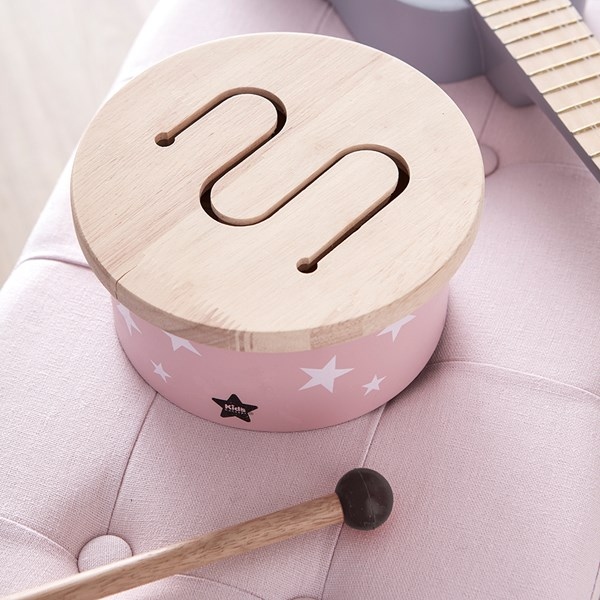 Children's Mini Wooden Toy Drum in Pink