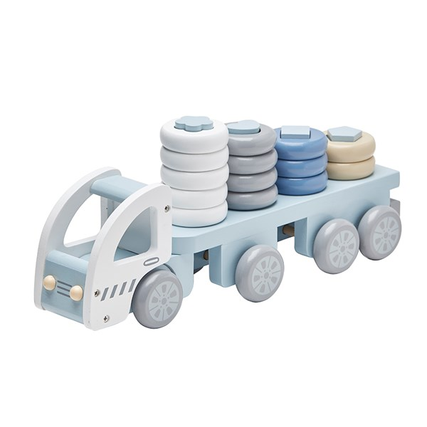 Children's Wooden Stacking Toy Truck in Blue