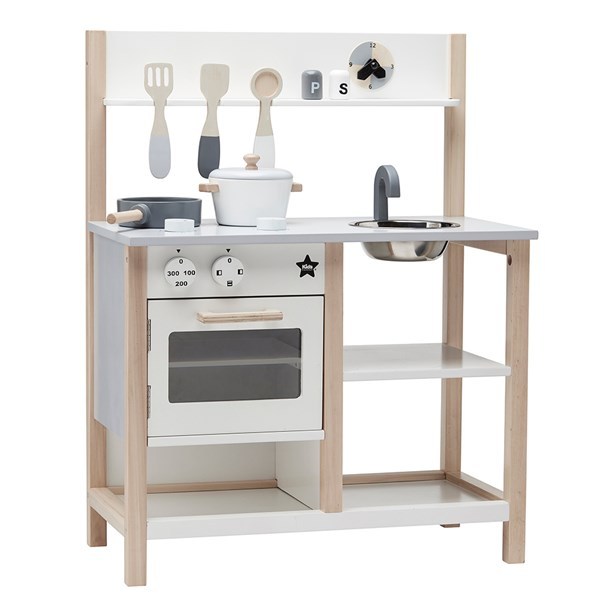 Children's Wooden Play Kitchen Set in White and Natural