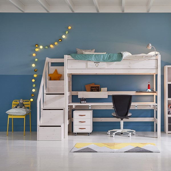 Lifetime High Sleeper Desk Bed with Steps