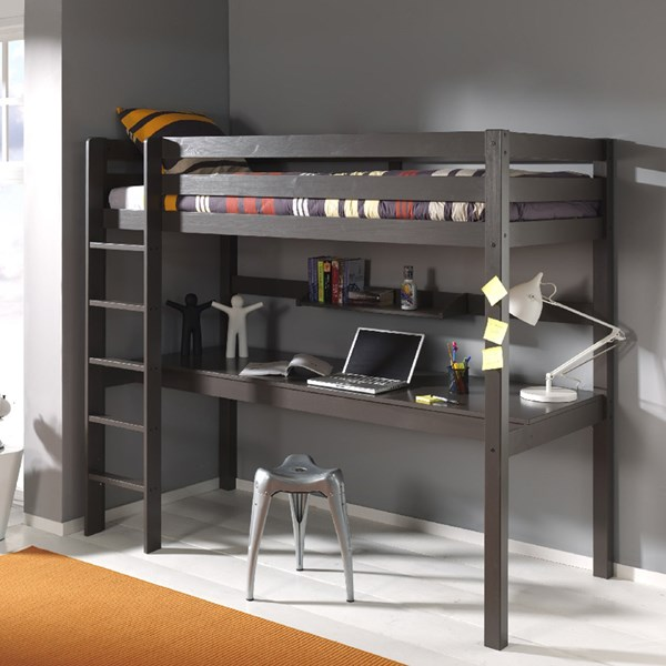 Pino Kids High Sleeper with Desk in Taupe