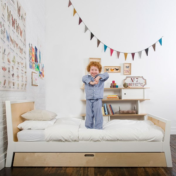 Oeuf Kids Sparrow Single Bed with Optional Trundle in White and Birch