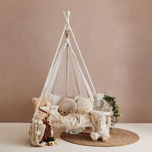 Natural White Children's Hanging Chair with Frame