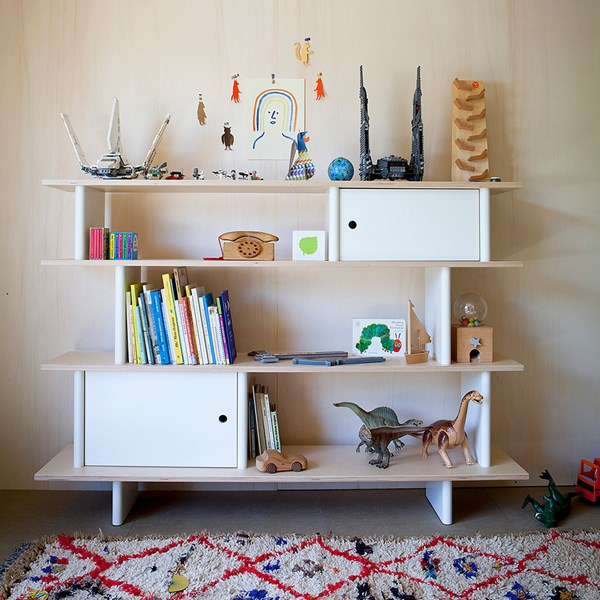 Children's Bedroom Storage in White and Birch Wood
