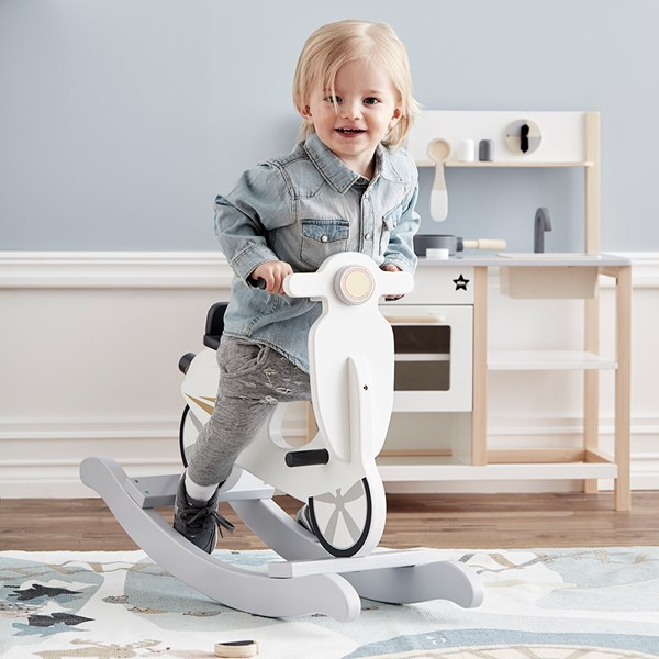 Children's Wooden Rocking Scooter in Grey