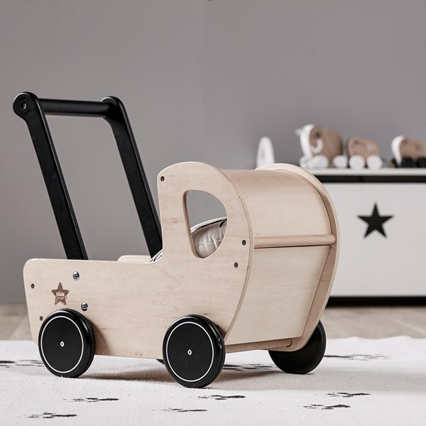 Children's Wooden Dolls Toy Pram