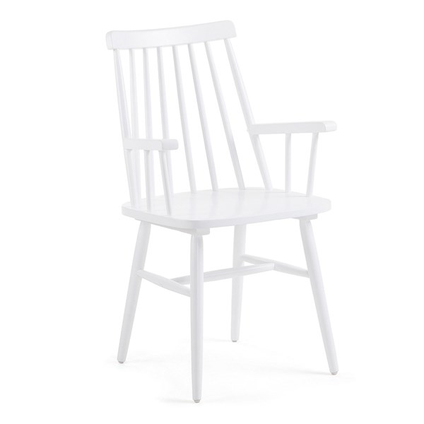 Pair of Kristie Wooden Spindle Back Armchairs in White