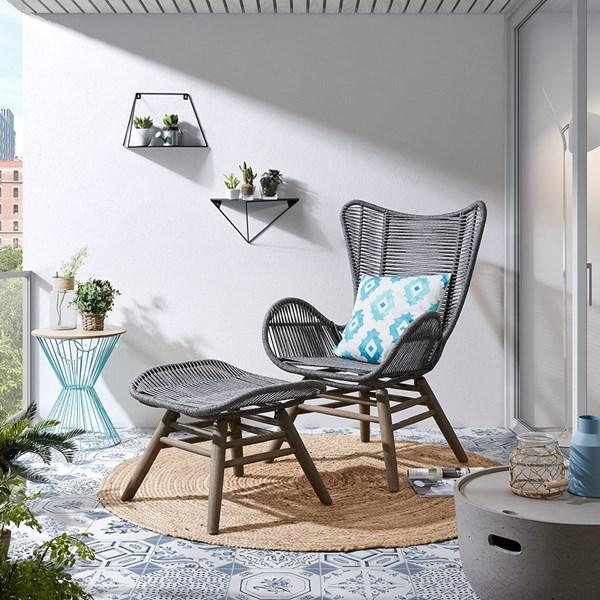 Kubic Eucalyptus Armchair and Footstool in Grey