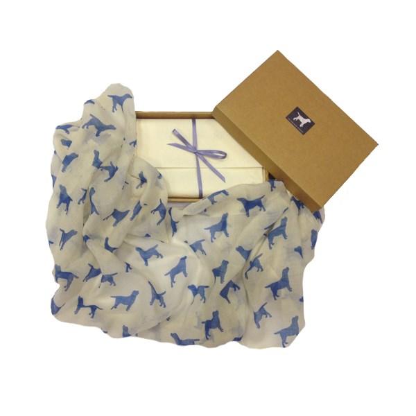 LABRADOR CASHMERE SCARF in Blue Print by The Labrador Company