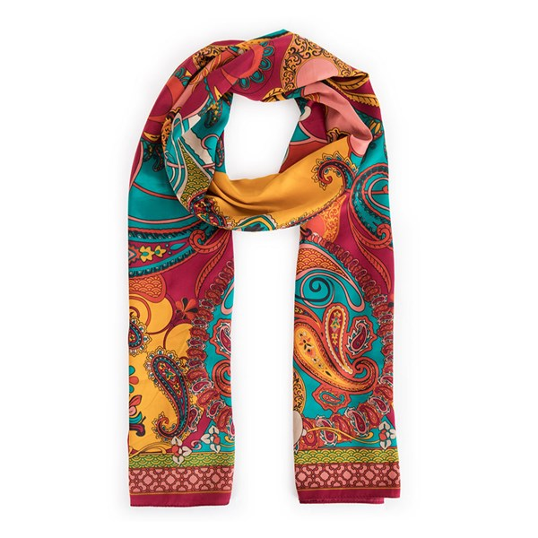 Powder Paisley Print Satin Scarf in Berry