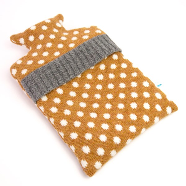 Knitted Lambswool hot water bottle in Gold Polka Dot